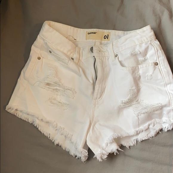 White denim shorts.